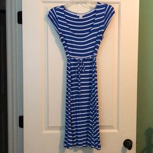 Royal blue and white casual maternity dress